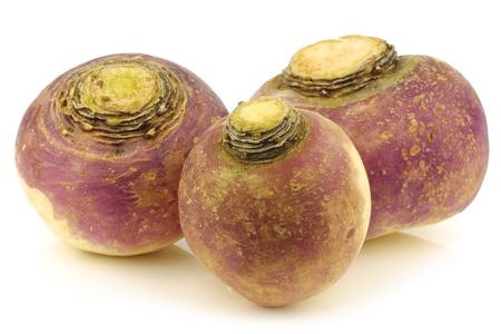rutabaga: fresh turnips on a white background