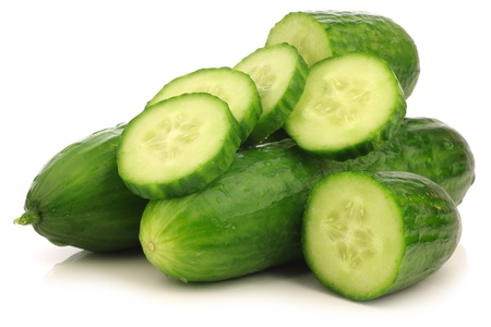fresh cut turkish cucumber on a white background  Stock Photo - 15106169