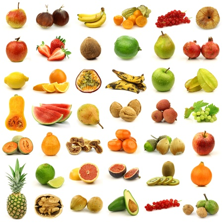 collection of fresh and colorful fruits and nuts isolated on white  Stock Photo