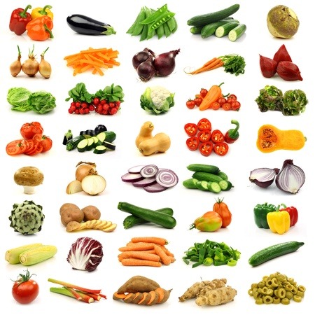 collection of colorful and fresh vegetables  photo