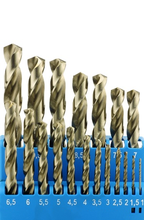 bits: set of hardened steel metal drill bits in a blue plastic box on a white background