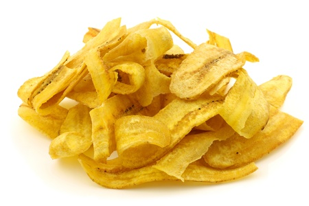 freshly baked banana chips on a white background