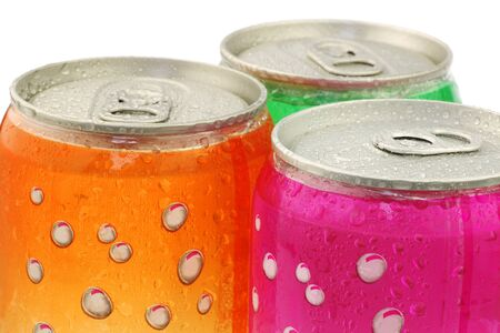 fizzy: Colorful fizzy drink cans with water droplets on a white background Stock Photo
