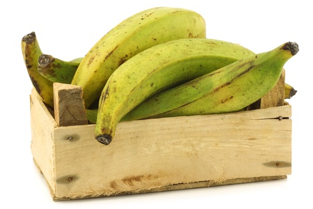 unripe baking bananas  plantain bananas  in a wooden crate on a white background Фото со стока