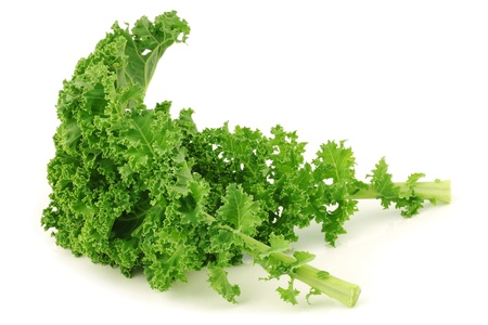 freshly harvested  kale cabbage stems on a white background 版權商用圖片 - 15462977
