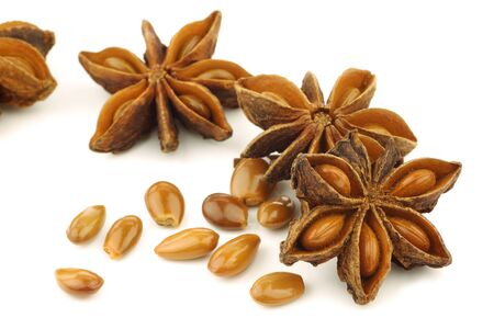 dried herb: dried star anise   Illicium verum  on a white background