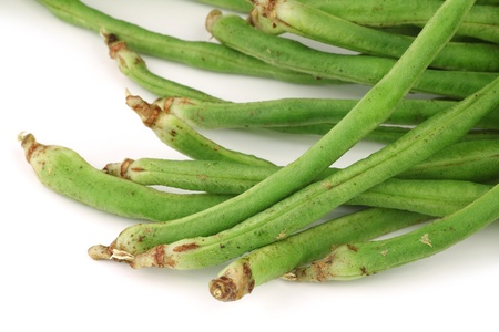 bundle of fresh long beans Vigna unguiculata subsp  sesquipedalis  on a white background Stock Photo - 15886612