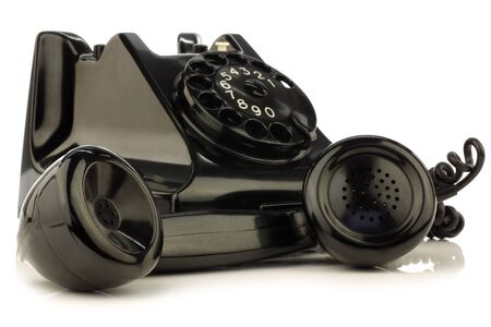 dial plate: vintage bakelite telephone on a white background