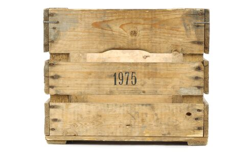 Old vintage wooden crate on a white background photo