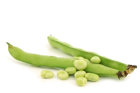 fresh Broad beans on a white background Stock Photo - 18940923