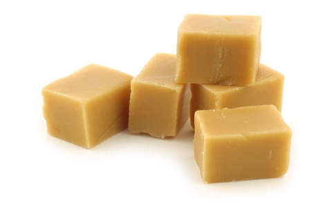 traditional caramel fudge on a white background