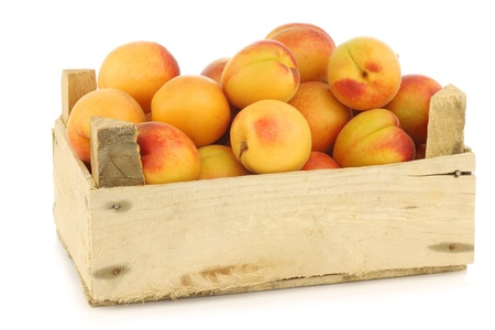fresh colorful apricots in a wooden crate on a white background photo