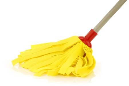 zwabber: yellow cleaning mop isolated on white background