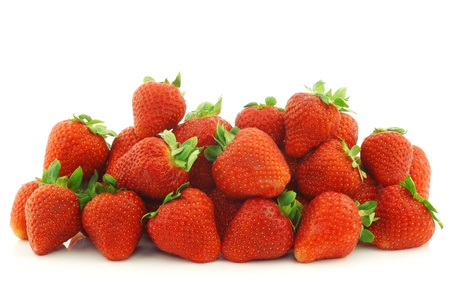 bunch of fresh strawberries on a white background photo