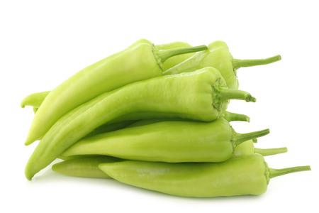 fresh green sweet peppers (banana peppers) on a white background 版權商用圖片 - 31928654
