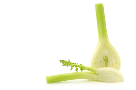 freshly cut fennel on a white background Stock Photo