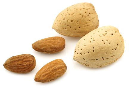un healthy: almonds on a white background