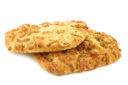 freshly baked focaccia bread on a white background