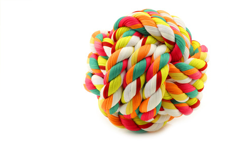 playthings: colorful cotton dog toy on a white background Stock Photo