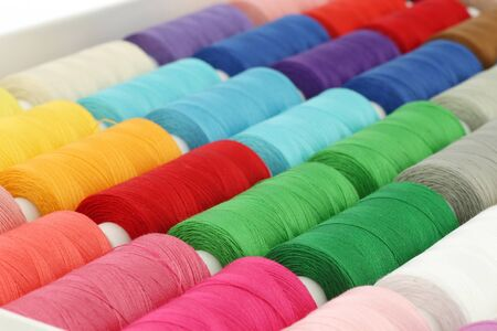 spindles: colorful spindles of yarn Stock Photo