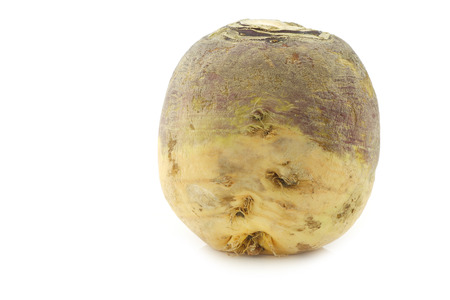 rutabaga: One fresh turnip (Brassica rapa rapa) on a white background