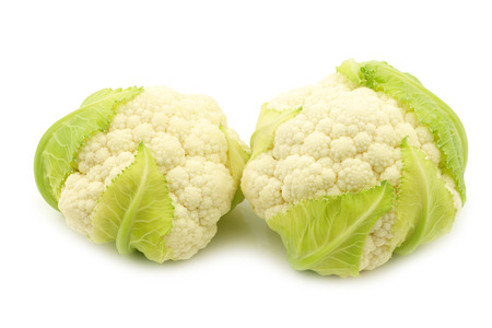 peer to peer: small fresh cauliflower on a white background