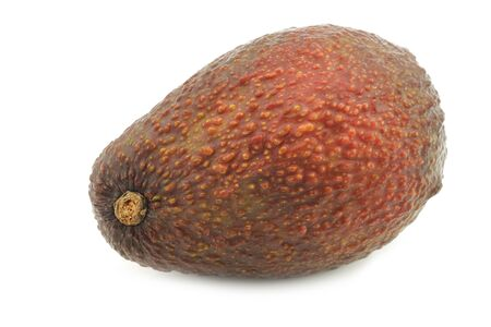 Eat ripe avocado on a white background