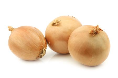 cebollas: Tres grandes cebollas marrones sobre un fondo blanco