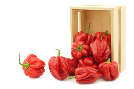 spicy hot red habanero peppers in a wooden box on a white background Stock fotó
