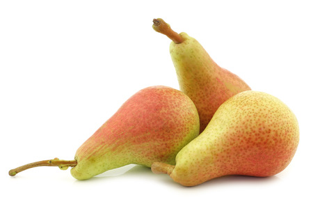 fresh Carmen pears on a white background Stockfoto