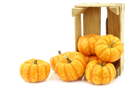 Small yellow and orange pumpkins in a wooden crate on a white background