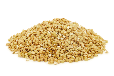 biologically grown organic buckwheat on a white background