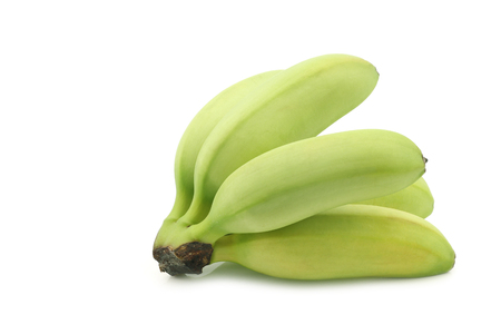 a bunch of small snack bananas on a white background
