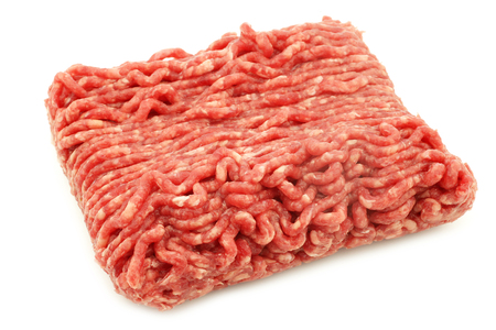 Raw minced beef meat on a white background 版權商用圖片