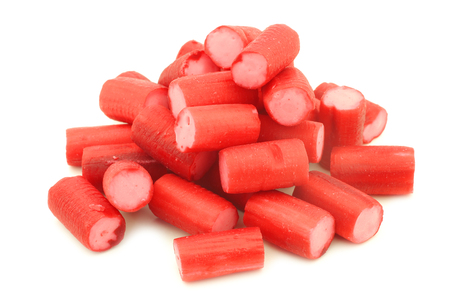 Red candy candy with pink filling on a white background 版權商用圖片