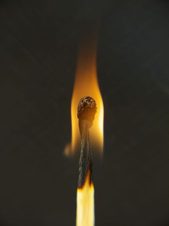 combust: Close up (macro) of a match after being lit, with a black background. Stock Photo