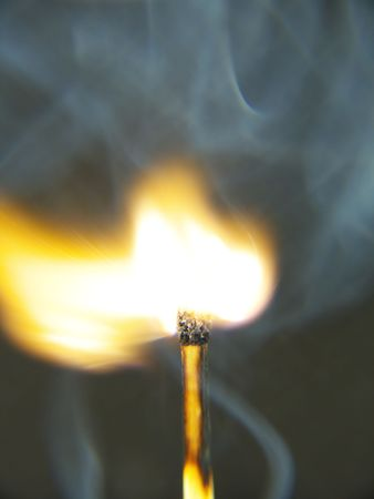 combust: Close up of a match, split seconds after being ignited with a black background.