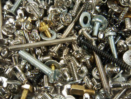 tornillos y tuercas: Close up (macro) de las tuercas, pernos, arandelas y tornillos.