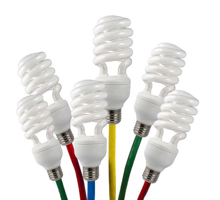 New Bright Ideas - Fluorescent Light Bulbs attached to a colored network cables Stock Photo - 7252319