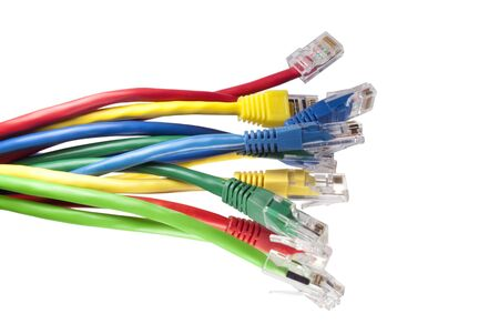 Set of brightly multi coloured network cables isolated on white background