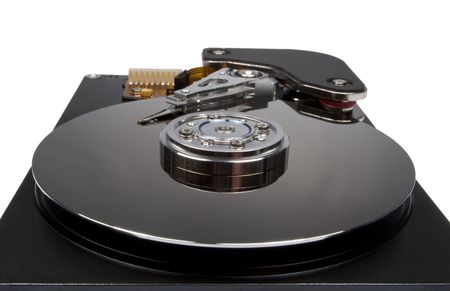 internals: Internals of a Harddisk HDD isolated on white