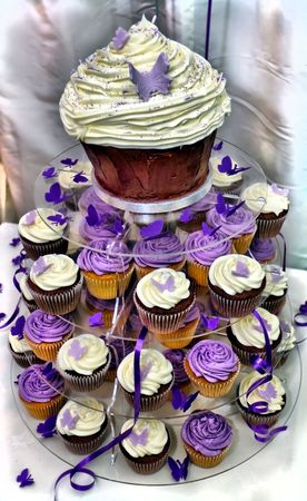 HDR Wedding Cake - Beautiful Purple and White Chocolate Cupcakes
