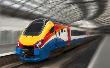 diesel train: Modern Fast Passenger Train in the Station with Motion Blur