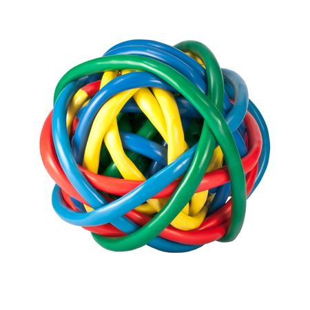 Ball of Brightly Multi Colored Network Cables Isolated on White Background. Ball of of coloured Wires Stock Photo
