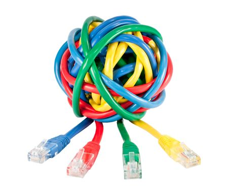 Ball of Brightly Multi Colored Network Cables and Plugs Isolated on White Background. Ball of of coloured RJ45 Wires Stock Photo - 7290841