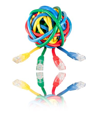 Ball of Brightly Multi Colored Network Cables and Plugs with Reflection Isolated on White Background. Ball of of coloured RJ45 Wires Stock Photo - 7290843