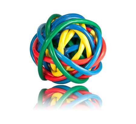 Ball of Brightly Multi Colored Network Cables with Reflection Isolated on White Background. Ball of of coloured Wires Stock Photo - 7290842