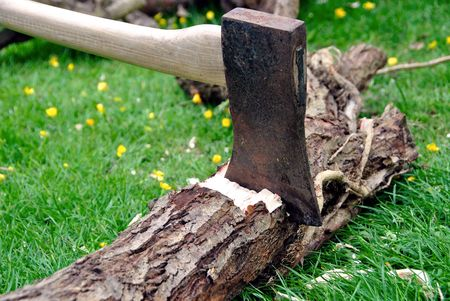 axes: Wood Chopping -Lumberjacks axe stuck in a tree log on green grass with a pile of firewood in the background Stock Photo