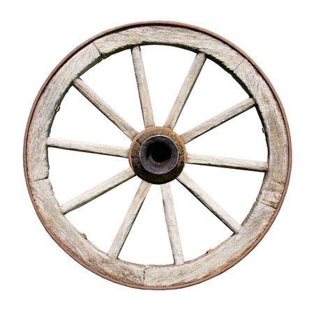 wagons: Old Traditional Wodden Wheel Isolated on White Background Stock Photo