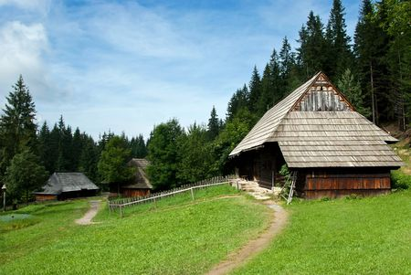 coutryside: Traditional Timber Houses with Wooden Roof set in beautiful coutryside in Central Europe - Slovakia